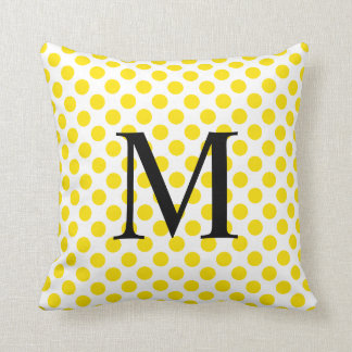 Simple Monogram with Yellow Polka Dots Throw Pillow