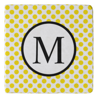 Simple Monogram with Yellow Polka Dots Trivet