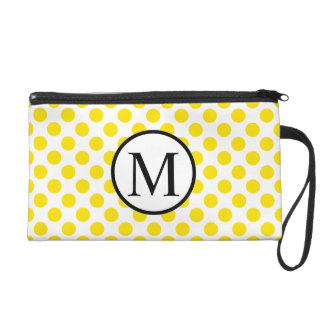 Simple Monogram with Yellow Polka Dots Wristlet