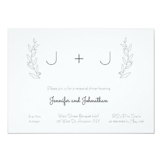 Simple monogram wreath wedding invitations