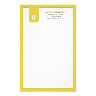 Simple Monogram Yellow Designer Stationery