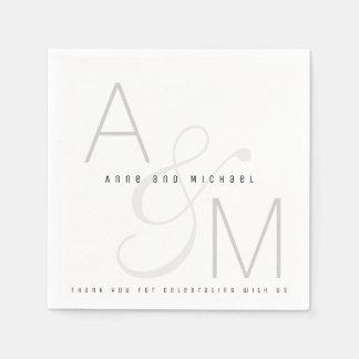 simple monogrammed wedding reception party napkin