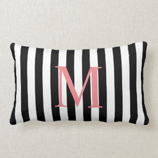 Simple Monoram with Black Stripes Lumbar Pillow