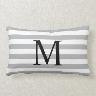Simple Monoram with Horizontal Grey Stripes Lumbar Pillow