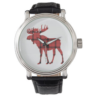 Simple Moose Red Plaid Buffalo Tartan Pattern Watch