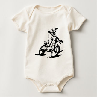 Simple Motorcross Bike and Rider Baby Bodysuit