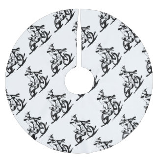 Simple Motorcross Bike and Rider Brushed Polyester Tree Skirt