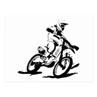 Simple Motorcross Bike and Rider Postcard
