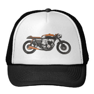 Simple Motorcycle - Cafe Racer 750 Drawing Trucker Hats