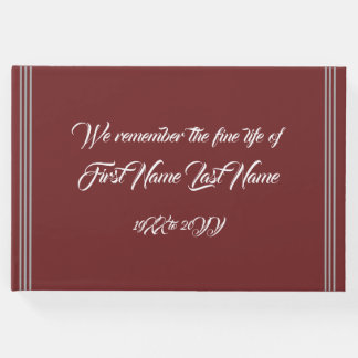 Simple & Mournful Wake Service Guest Book