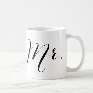 Simple Mr Script Stylish Modern Groom Wedding Gift Basic White Mug