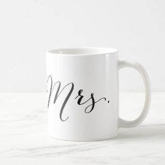 Simple Mrs Script Stylish Modern Chic Wedding Gift Classic White Coffee Mug