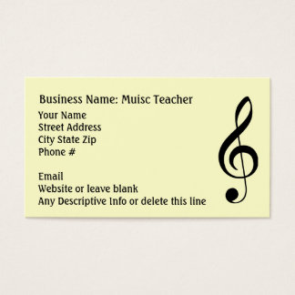 Simple Music Clef Note Black and White Generic Business Card
