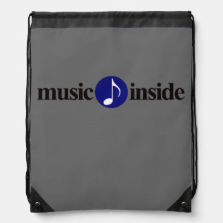 simple music inside musical note drawstring bag