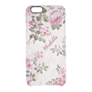 Simple Name Vintage Floral Clear Case