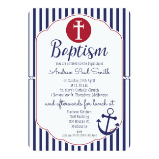 Simple Nautical Anchor baptism Invitation