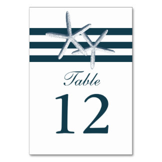 Simple Nautical Starfish Wedding Table Numbers