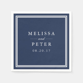 Simple Navy and White Wedding Paper Napkin