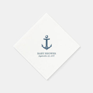 Simple Navy Blue Anchor Nautical Baby Shower Paper Napkin