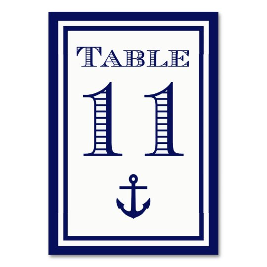 Simple Navy Blue Framed Anchor Table Card #11