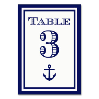 Simple Navy Blue Framed Anchor Table Card #3
