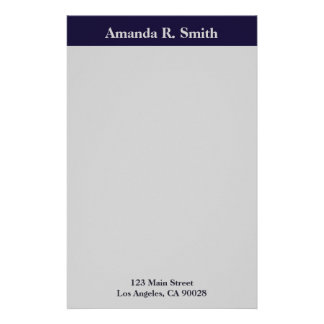Simple navy blue grey stationery paper