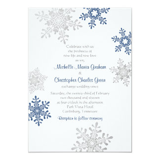 Simple Navy Blue Silver Snowflake Winter Wedding Card