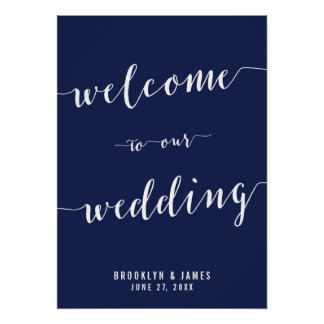 Simple Navy Blue Wedding Reception Sign 20x28 Poster