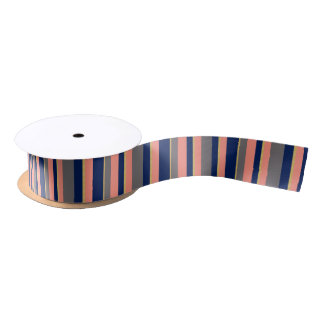 Simple Navy, Gold and Coral Stripe Satin Ribbon