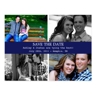 Simple Navy Photo Save The Date Post Cards