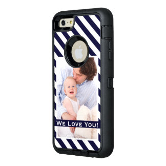 Simple Navy Stripes & Photo w/Custom Text OtterBox Defender iPhone Case