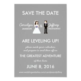 "Simple, Nerdy 8-Bit Bride & Groom Save the Dates 5"" X 7"" Invitation Card"