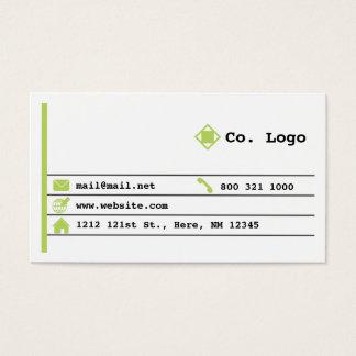 Simple Newsprint Lime Color Business Card