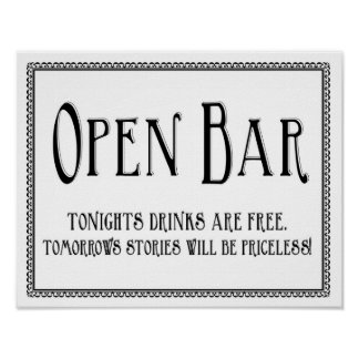 Simple Open Bar Wedding Reception Sign