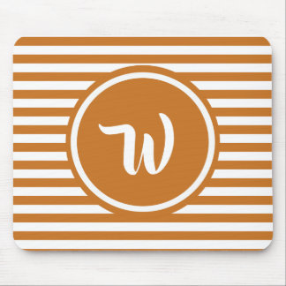 Simple Orange and White Striped Monogram Mouse Pad