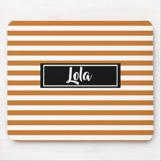 Simple Orange and White Stripes Striped Name Mouse Pad