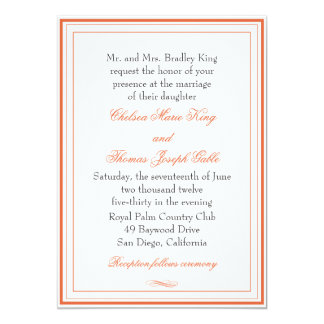 Simple Orange Border Wedding Invitation