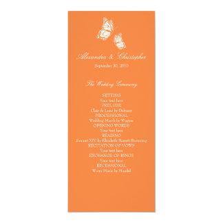 Simple Orange Butterflies Wedding Program