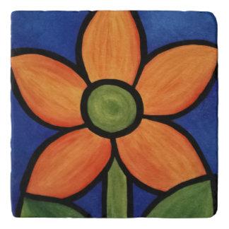 Simple Orange Flower On Blue Trivet