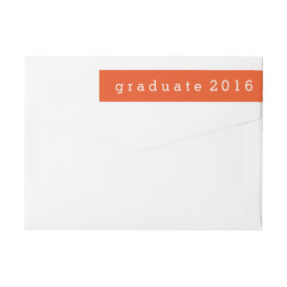 Simple Orange Graduate 2016 Wrap Around Label