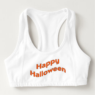 Simple Orange Happy Halloween Sports Bra