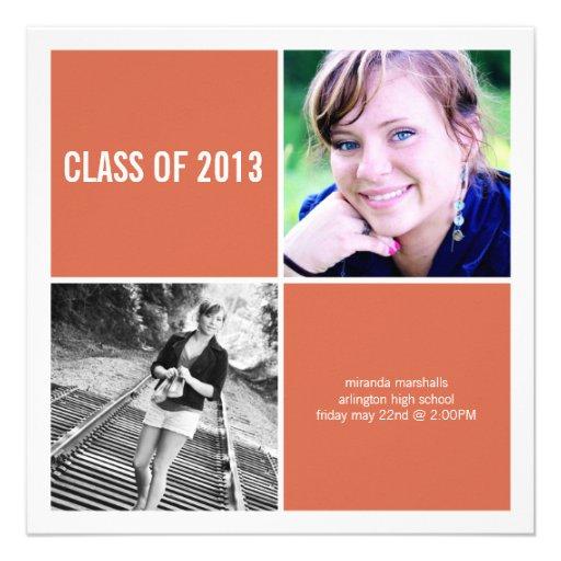Simple Orange Photo Graduation Announcements