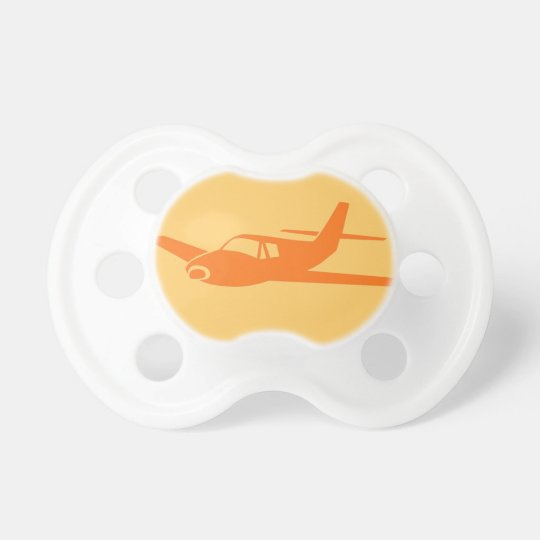 Simple orange theme airplane baby pacifier