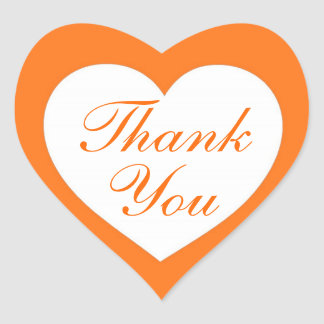 Simple orange white thank you heart stickers