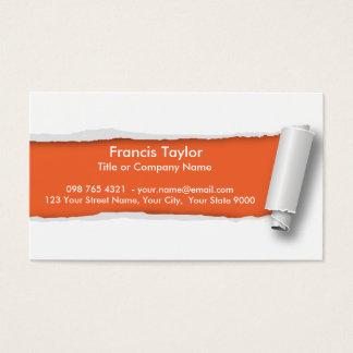 Simple, original orange ripped paper design... business card