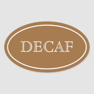 Simple Oval Decaf Label, Brown Oval Sticker
