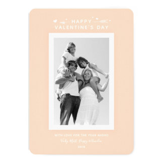 Simple Pastel Peach/Apricot Valentine's Day Photo Card