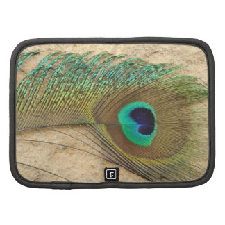 Simple Peacock FEATHERS COLORFUL Rickshaw Folio Planner