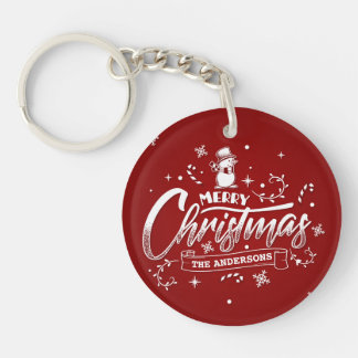 Simple Personalized Snowman Christmas Keychain
