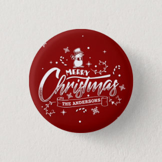 Simple Personalized Snowman Christmas Pin Button